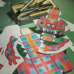 Progress on paper toy. To tired to finish tonight.  Only had to make minor changes to template. (macula1) Tags: sculpture cute classic monster kids modern paper paperart children square fun design construction origami colorful vectorart flat character glue craft icon hobby mascot squareformat unknown beast illustrator creature vectors mythology vector kaiju whimsical papercraft adobeillustrator cardstock designertoy papermodels scratchbuild papertoy paperkit paperengineering custompapertoy cardmodeling iphoneography instagramapp uploaded:by=instagram