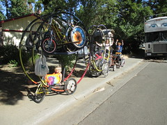 Chitty Chitty Bike Bike, hauling toys (whymcycles) Tags: bike bicycle recycled tricycle trike trailer ingo recumbent handcycle germanwheel quadracycle whymcycle rhonrad