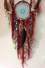 Three Tiered Large Red and Turquoise Tree of Life Dreamcatcher With Wild Duck Feathers (thedreamcatchery) Tags: red art stone furry native handmade turquoise oneofakind dream feather tribal yarn hippie handcrafted catcher boho decor crueltyfree bohemian homedecor treeoflife dreamcatcher wallhanging goodvibes duckfeather wallweaving thedreamcatchery