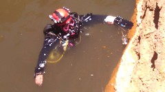 Me, diving in one of the Penasco Springs--along with a dead rat (Squirrel Girl cbk) Tags: usa newmexico water june rat scubadiving nm murky microbiology deadrat 2014 squirrelgirl sidemount geochemistry barbaraamende barbaraaamende barbaraanneamende penascosprings peñascosprings
