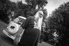 Mr. Adams and his VW Microbus.... (tbower) Tags: people bw monochrome beard geotagged nikon raw nef pennsylvania candid cs6 d3s jerseyshorepa nikongp1 niksep clintoncountypa nikkor24120f4vr