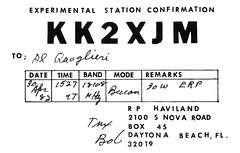 KK2XJM (Al Q) Tags: beach station radio experimental card qsl daytona beacon shortwave verification kk2xjm