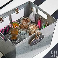 Organized Office Supplies (Heath & the B.L.T. boys) Tags: box metal galvanized jars organize office label chalkboard magnetic bullclip