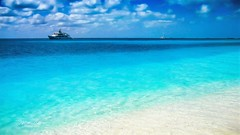 Blue Palette (mikederrico69) Tags: beach beaches antigua ocean sand summer vacation trip sky clouds blue boats boat water nature tropical carribean island west indies leeward islands barbuda travel waladli