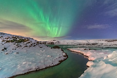 'A Stream of Polar Light' - Urridafoss, Iceland (Kristofer Williams) Tags: night sky stars river stream landscape nightscape aurora northernlights auroraborealis snow winter water iceland urridafoss