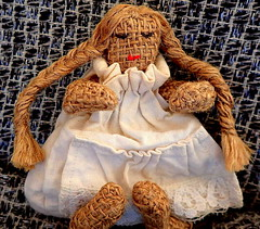 Little Miss Hessian........Macro Mondays (Lani Elliott) Tags: macro macromondays clothtextile littlemisshessian doll hessian calico fabric cloth bokeh material macrounlimited