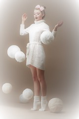 Falling Skeins. Surprised Woman in Woolen Knitted Jersey with White Balls of Yarn (ruthmalka) Tags: clothing handmade yarn pullover person stockinet jersey socks pelage white skein sweater woven woolen needlecraft hobby tiptoe fall beauty woman clew tailor stitching sphere sewing art needle hank winter knit wear fur clothes autumn needlework drop pure wool funny ball thread knitwear surprised fleece tricot hosiery dress fashion filament light