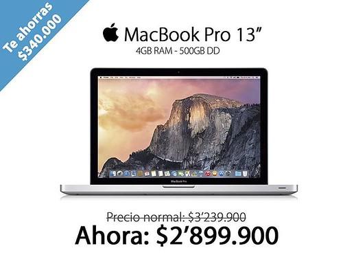 No te pierdas la oportunidad de adquirir un MacBook Pro de 13'' al mejor precio. @compudemano, #cadadiamejor. Visita nuestra tienda o llámanos Bogotá: (1) 381 9922 - Medellín: (4) 204 0707 - Cali (2) 891 2999 - Barranquilla: (5) 316 1300 - Pereira: (6) 33