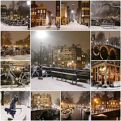 Winter nights in Amsterdam (B℮n) Tags: fdsflickrtoys amsterdam brouwersgracht snow covered bikes bycicles holland netherlands canals winter cold wester church jordaan street anne frank house dutch people scooter gezellig cafés snowy snowfall atmosphere colorful windows walk walking bike cozy boat light rembrandt water canal weather cool sunset celcius mokum pakhuis grachtengordel unesco world heritage sled bycicle 1°c sun shadows sneeuw brug slippery glad night flakes evening handheld seat bankje fairytale mist prinsengracht fiets best collection collage mosaic 50faves topf50