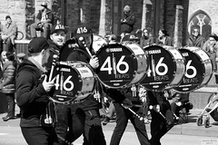 416 Beats (Can Pac Swire) Tags: toronto ontario canada canadian irish stpatricksday parade people man women woman men children bloorstreet west w avenueroad culture cultural aimg7032 bw image photo shot 416 beats drums drumming drummer drummers yamaha