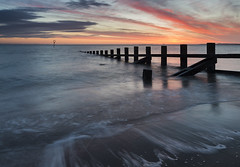 Portobello Sunrise (Simon Wootton) Tags: edinburgh sunrise sea water groynes beech portobello sand horizon colour scotland