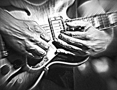 Thorson Moore Gettin' Down With the Blues (forestforthetress) Tags: bw blackandwhite blues music musician man hands guitar omot nikon thorsonmoore hoosierbarandgrill berryduaneoakley gig concert stage