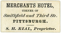 S. H. Rial, Proprietor, Merchants Hotel, Pittsburgh, Pa., ca. 1866 (Alan Mays) Tags: ephemera businesscards advertising advertisements ads cards names paper printed merchantshotel hotels rial shrial proprietors smithfieldstreet thirdstreet 3rdstreet pittsburgh pa pennsylvania 1866 1860s victorian 19thcentury nineteenthcentury antique old vintage typefaces type typography fonts