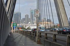 The cycleway and footpath over Anzac Bridge looking toward Pyrmont and  (Sydney NSW Australia)  CBD towers in the background (nicephotog) Tags: anzac bridge pedestrian footpath cycleway path pylon suspension wires rozelle glebe lilyfield sydney nsw pyrmont ultimo tower top skyline cityscape scenic panorama view apartment high rise