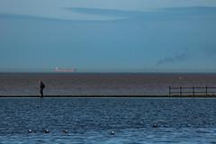 A distant ship, smoke on the horizon... (ianbonnell) Tags: wirral merseyside westkirby water sea blueskies minimalism pinkfloyd