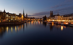 Zürich blue hour (eichlera) Tags: zurich switzerland limmat water river historic town city blue hour lights dusk sunset sky