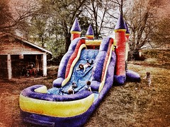 It's party time! (Pejasar) Tags: joy delight run play alive fun girls boys grandchildren inflatables castle party birthday