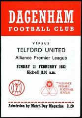 DAGENHAM v TELFORD UNITED (1981-82) APL (bullfield) Tags: dagenham telfordunited