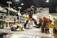 Civil War the Airport Battle + DC micro race (danielhuang0616) Tags: exhibition moc mocer league ml lego 2017 marvel dc civil war antman hulkbuster skull rider batman superman joker race cart airport battle captain america airplane