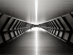 Nemesis (Douguerreotype) Tags: uk gb britain british england london city urban bw blackandwhite mono monochrome symmetry bridge people architecture crossrail canarywharf