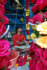 Flower power (Rajib Singha) Tags: travel street shop flower garland work color market interestingness flickriver sonyrx100 kolkata westbengal india