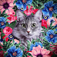 Cat In Flowers. Summer (♥Oxygen♥) Tags: animal cute art cartoon cat character decorative design face funny head illustration kitten kitty nature ornament pet round beautiful bloom blossom childish circle decor decoration drawn floral flower frame garden greeting hand postcard pussycat retro romantic smile spring summer sweet wreath feline season botanical painting digital fluffy portrait impression oksanaariskina fineartcat printcat domesticcat catart childrensart digitalpainting digitalillustration catdrawing catportrait children homeinterior decorativeart