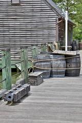 Cargo on the James wharf (nutzk) Tags: virginia jamestown settlement wharf cargo cannon