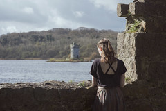 Look Out (Sarah-Louise Burns) Tags: girl vintage dress retro derelict castle cromb estate northern ireland fairytale princess story storytelling