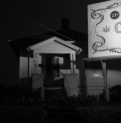 Portland (austin granger) Tags: portland oregon billboard night marijuana 21 juxtaposition home street urban advertising topography evidence sidewalk geometry film square gf670