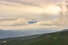 Floating Fuji (Atomic Eye) Tags: yellow mountfuji japan fog clouds landscape vista mountain stratovolcano tokyo symmetrical cone threeholymountains historicsite volcano geography