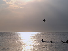 catch the ball if you can (Nikos Karatolos) Tags: posidi chalkidiki greece sea late afternoon waves water summer game ball