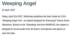RELEASE: MI5/CIA's smart TV malware bug manual classified UK EYES ONLY SECRET STRAP 2 #Vault7 (link: http://ift.tt/2oRjyKO) via /r/WikiLeaks https://twitter.com/wikileaks/status/855394257372422145 https://twitter.com/wikileaks/status/855394257372422145htt (#B4DBUG5) Tags: b4dbug5 shapeshifting 2017says