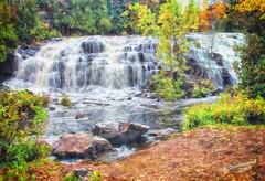 A painterly view of Bond Falls in Paulding, Michigan (PhotosToArtByMike) Tags: bondfalls bondfallsscenicsite ontonagonriver ontonagonmichigan mi upperpeninsulaofmichigan paulding upperpeninsula up waterfall uppermichigan autumn ottawanationalforest autumnleaves