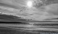 Kite Surfing (SarahO44) Tags: 6d canon kingdom pembrokeshire uk united wales thehavens unitedkingdom gb broad haven beach kite surfer surfing nature landscape silhouette moody sky clouds