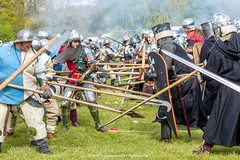 [2014-04-19@15.03.22a] (Untempered Photography) Tags: history costume fight smoke helmet battle medieval weapon sword knight shield combat armour reenactment skirmish combatant chainmail spear canonef50mmf14 perioddress polearm platearmour gambeson poleweapon mailarmour untemperedeye canoneos5dmkiii untemperedeyephotography glastonburymedievalfayre2014
