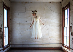 (Rodney Harvey) Tags: windows light woman abandoned church beauty angel floating levitation plaster cracks