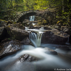 Roman Bridge - square crop - explored! (OnlyEverOneJack) Tags: bridge water stone scotland waterfall spring nikon long exposure slow lyon roman glen 35 27 milky 78 202 302 d800