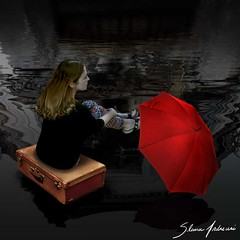 Looking forward to next station (Silvia Andreasi (Images Beyond Mirror)) Tags: shadow red portrait woman reflection art texture abandoned water rain umbrella photomanipulation dark whimsy waiting surrealism surreal fantasy forgotten squareformat ethereal imagination mystical suitcase mystic whimsical dreamscape hoping conceptualphotography imagesbeyondmirror silviaandreasi