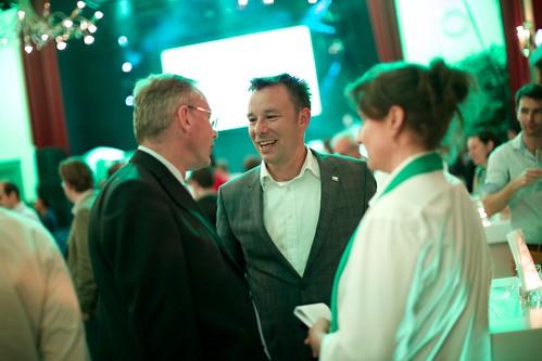 Klaas Verschuure bij de D66 uitslagenavond Europese verkiezingen 2014 in Nijmegen