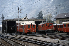 The FO shed at Brig (TrainsandTravel) Tags: schweiz switzerland suisse narrowgauge electrictrains schmalspurbahn trainsélectriques furkaoberalpbahn voieetroite elektrischezüge