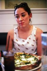 Ellen (jjldickinson) Tags: food lunch restaurant italian downtown eating pizza longbeach nikkor nikonf fujicolorsuperiaxtra400 nikkors50mmf14 nikonfphotomicftn ellendickinson michaelspizzeria tiffen52mmsky1a roll509n