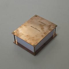 """Volumen I_""""algún día todo esto será vuestro"""", libros cobre, fieltro y papel ,15x20x7 cm, 2013"""