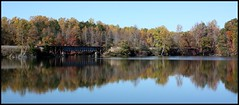 Oldie, Fall at the Lake (No Real Name Given.) Tags: railroad trestle bridge lake reflection fall tracks rails oldies