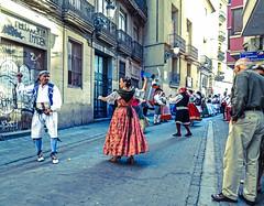 Street Celebration (Cross Processed Effect) - Valencia (Sony HX60V) (markdbaynham) Tags: street city travel people urban valencia dance costume spain dress zoom sony traditional cybershot espana espanol metropolis es hx dsc cyber compact cuidad 60v travelzoom hx60 hx60v