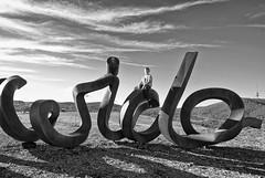 Wide lens land (screenstreet) Tags: blackandwhite sculpture publicart silverefexpro nationalarboretumcanberra photowalkcanberra widebrownlandsculpture