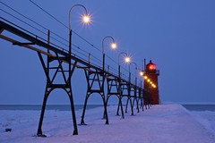 In the Dusk_South Haven Lighthouse (Sneezzzzz) Tags: longexposure travel winter light lighthouse lake snow ice night frozen unitedstates cloudy michigan 5photosaday southhavenlighthouse sonyslt pwwinter
