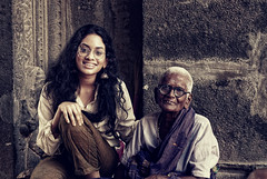 In a Sense. (Prabhu B Doss) Tags: travel india girl portraits temple photography nikon women teen elderly octogenarian kanchipuram paati d80 ekambareswarar prabhub prabhubdoss