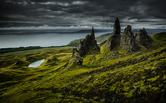 [ ... the old man of storr ] (D-P Photography) Tags: storm mountains skye green clouds dark landscape scotland highlands mood isleofskye nd pinnacle schottland oldmanofstorr ndgrad leefilters dpphotography