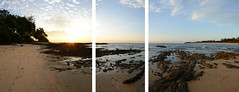 Deserted Beach Triptych _Panorama (Simon Caunt) Tags: sun beach sunrise hotel triptych resort malaysia eastcoast morningsun tanjongjara dungung kualaterranganu