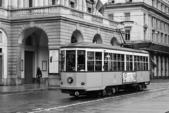 Vecchio tram di Milano (enricorinaldi22) Tags: italy white black strada italia milano centro tram ombre persone e luci duomo stazione bianco nero vecchio rotaie trasporto